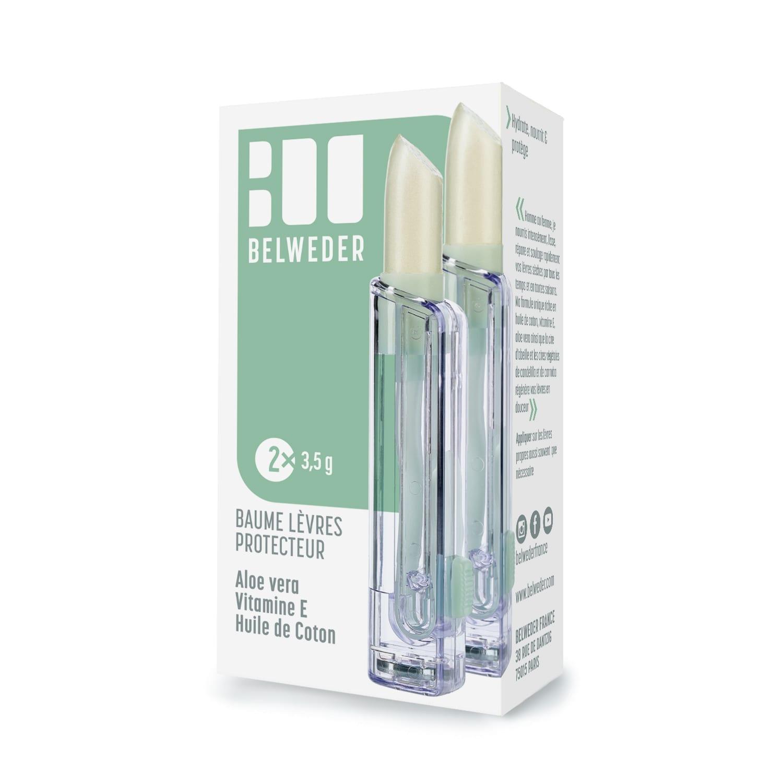 """BAUME LÈVRES PROTECTEUR<br>Aloe Vera, Vitamine E, Huile de Coton<br><span style=""""font-size: 18px;"""">2×3,5g</span> Hydratation & Nutrition"""