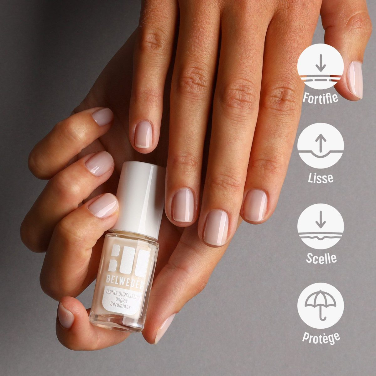 """VERNIS SOIN FORTIFIANT<br>Ongles Céramides<br><span style=""""font-size: 18px;"""">2×7,5 ml</span> Ongles"""